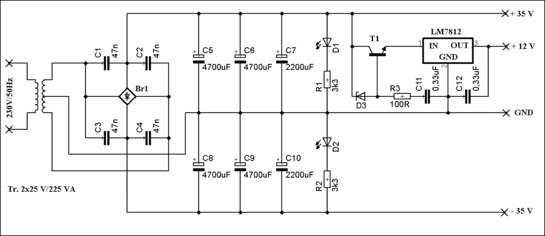 IRS2092 STEREO CLASS D AMPLIFIER SCHEMATIC CIRCUIT DIAGRAM