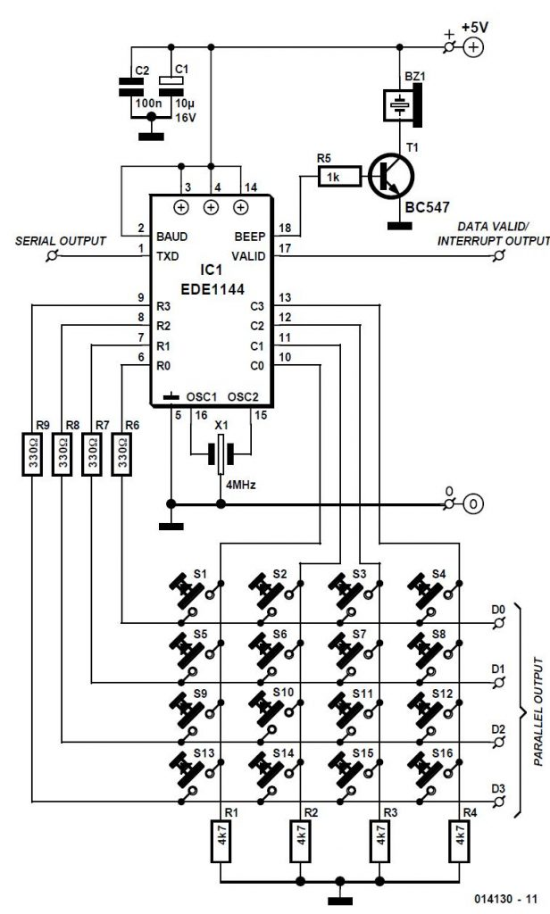 Keypad Encoder IC with Serial Output Schematic Circuit Diagram