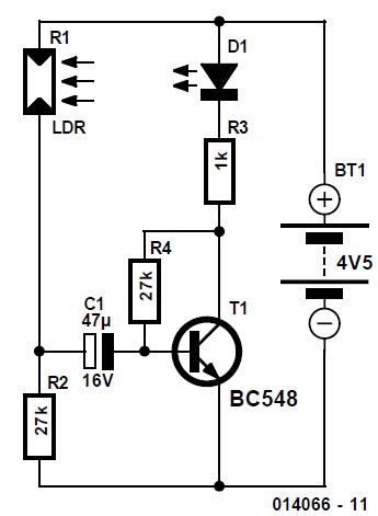 LED–LDR Blinker Schematic Circuit Diagram