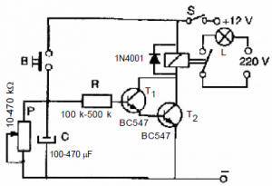 LONG TIME DELAYED TURN-OFF TIME RELAY SCHEMATIC CIRCUIT DIAGRAM