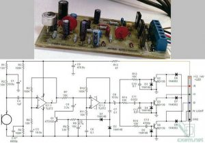 RGB RIBBON LED SINGLE CHANNEL MICROPHONE VU METER SCHEMATIC CIRCUIT DIAGRAM