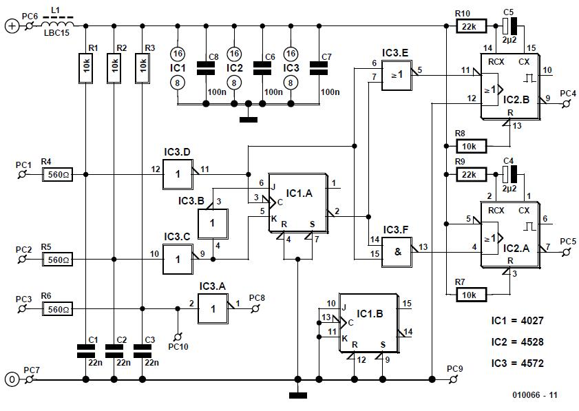 Rotary Encoder for Digital Volume Control Schematic Circuit Diagram