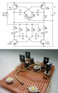 SIMPLE POLICE STACKER CIRCUIT WITH POWER LED SCHEMATIC CIRCUIT DIAGRAM