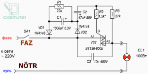 SLOW START CYCLE FOR INCANDESCENT BULB SCHEMATIC CIRCUIT DIAGRAM 1