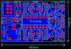 STEREO MINI AMPLIFIER WITH TEA2025B SCHEMATIC CIRCUIT DIAGRAM 6