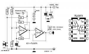 Squarewave Oscillator Using TLC073 Schematic Circuit Diagram