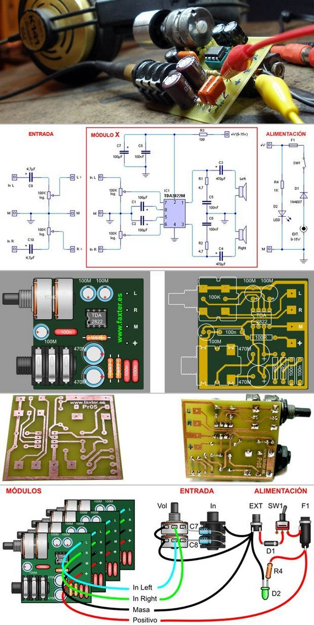 TDA2822M HEADPHONE AMPLIFIER SCHEMATIC CIRCUIT DIAGRAM