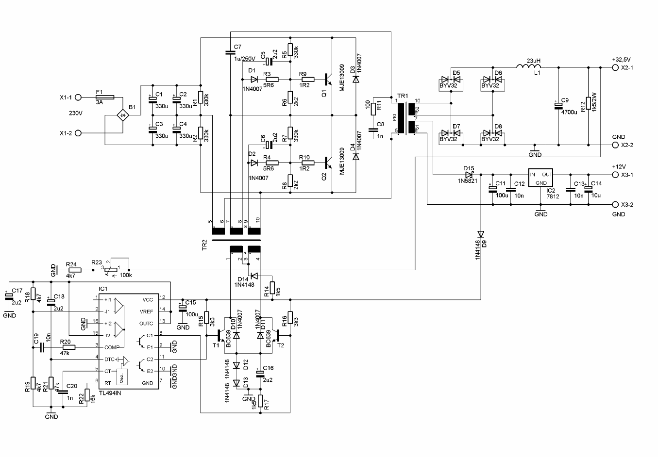 2x100w Class D Amplifier Circuit Tl494 Smps Power Supply Schematic Circuit Diagram