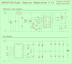 TL494 IR2110 TESLA COIL DRIVE CIRCUIT SCHEMATIC