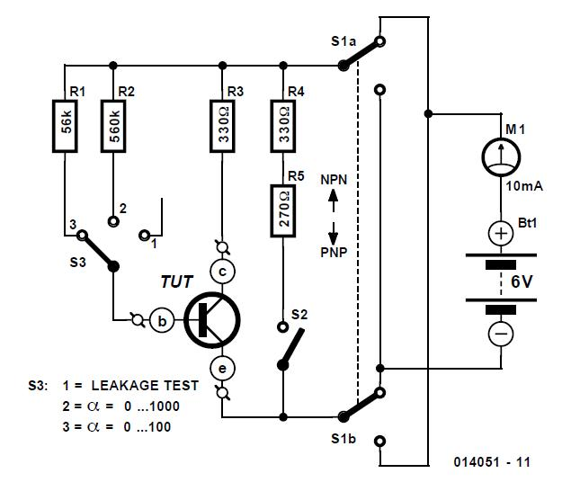 Transistor Tester Schematic Circuit Diagram
