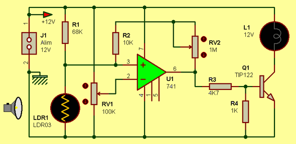 12V DARK SWITCH WITH 741 OP AMP Schematic Circuit Diagram