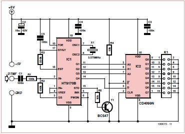 8-channel DTMF Link: Encoder Schematic Circuit Diagram