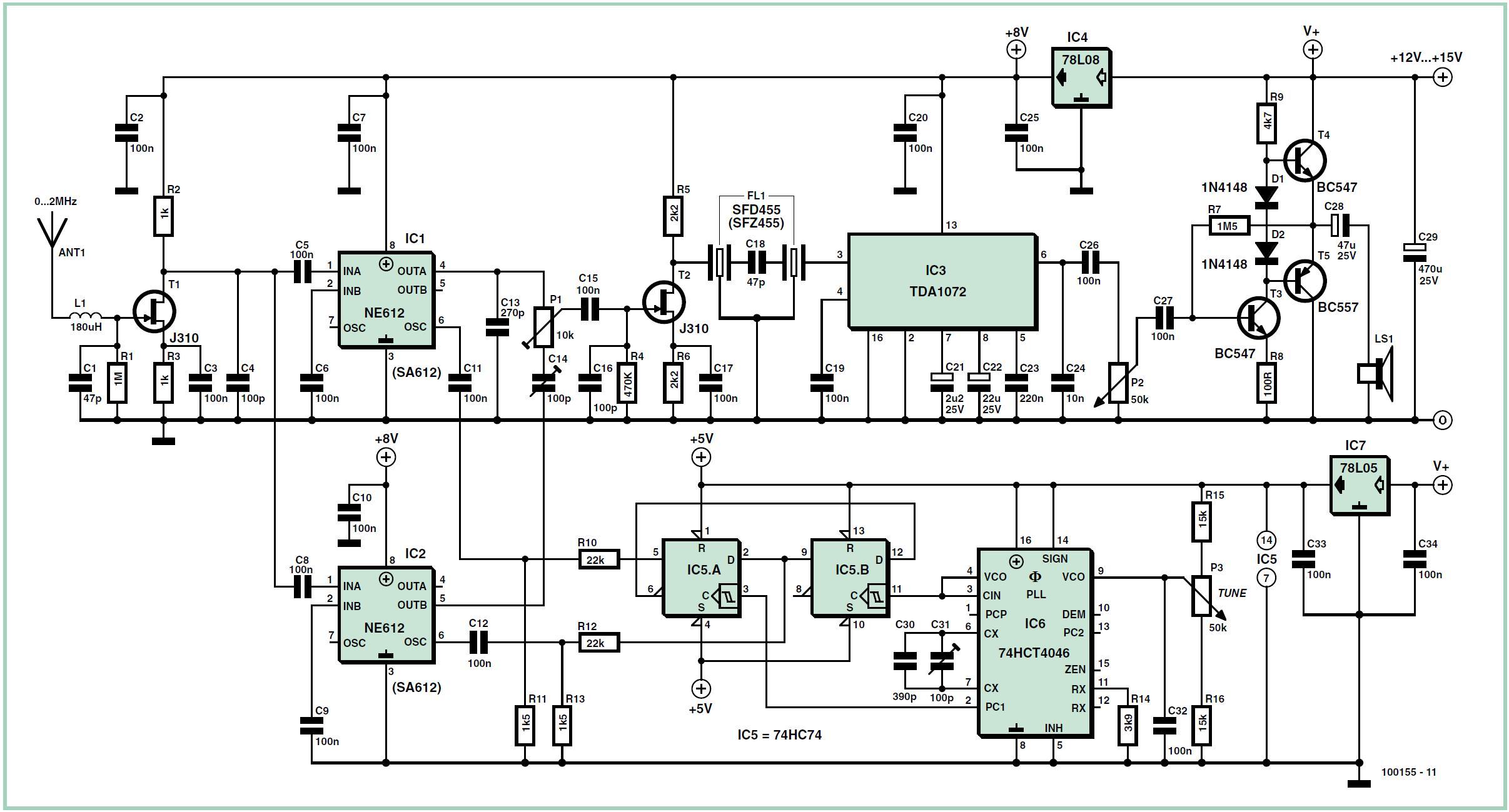 AM Receiver with Quadrature Mixer Schematic Circuit Diagram