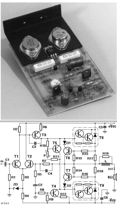 CLASSIC 100W HIFI DARLINGTON TRANSISTOR AMPLIFIER CIRCUIT Schematic Circuit Diagram