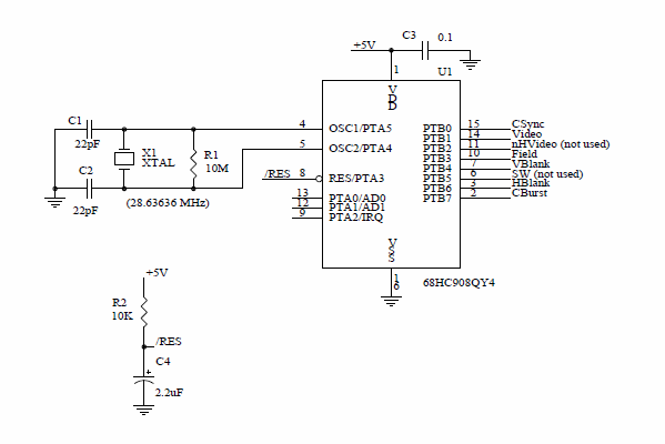 MOTOROLA MC68HC908QY4 MCU REMOTE OBSERVATİON STATİON Schematic Circuit Diagram