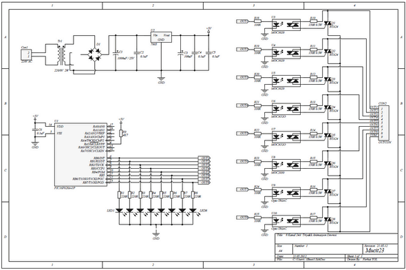 PIC16F628A 8 CHANNEL 24 AMPERES TRIACED CARD Schematic Circuit Diagram