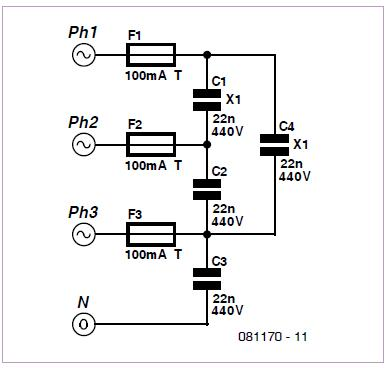 Phase Coupler for PLC or X10 Network Schematic Circuit Diagram