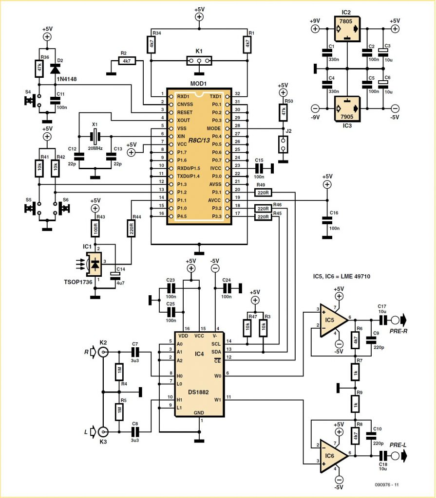 Remote-controlled Preamp with Digital Pot Schematic Circuit Diagram