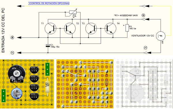 SIMPLE FAN SPEED CONTROL CIRCUIT WITH TRANSISTOR