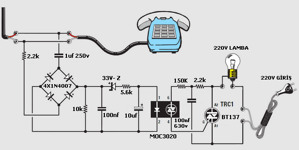 LAMP BURNING WHEN PHONE CALLS MOC3020 BT137 Schematic Circuit Diagram
