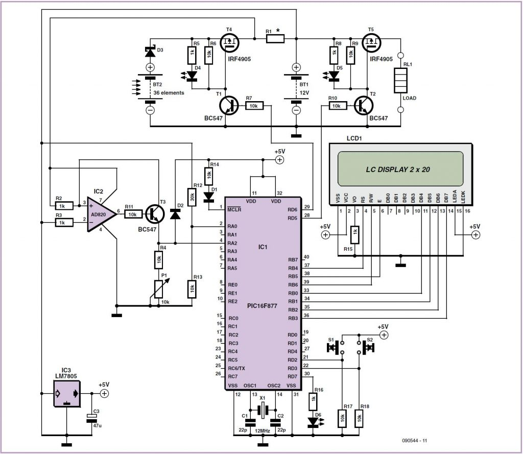 Solar Cell Battery Charger/Monitor Schematic Circuit Diagram