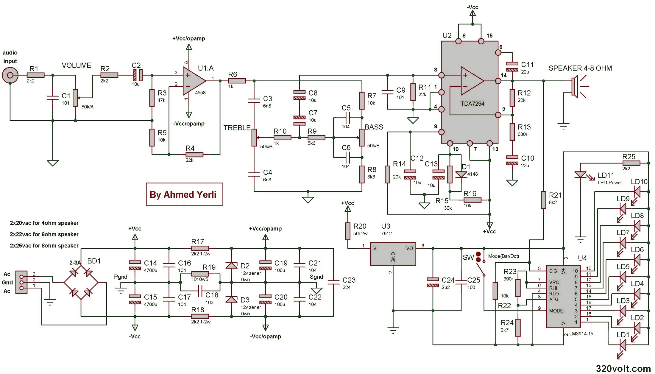 Tda7294 Complete 100w Amplifier Vu Meter Tone Control