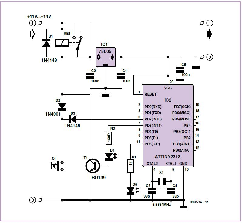 Universal Timer with Zero Standby Current Schematic Circuit Diagram