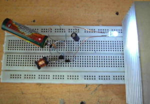 1.5V 3V DC-DC CONVERTER BATTERY WITH WHITE LED BURNING SCHEMATIC CIRCUIT DIAGRAM