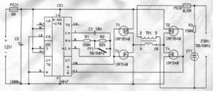12V 230V DC-AC MOSFETLI SIMPLE INVERTER SCHEMATIC CIRCUIT DIAGRAM