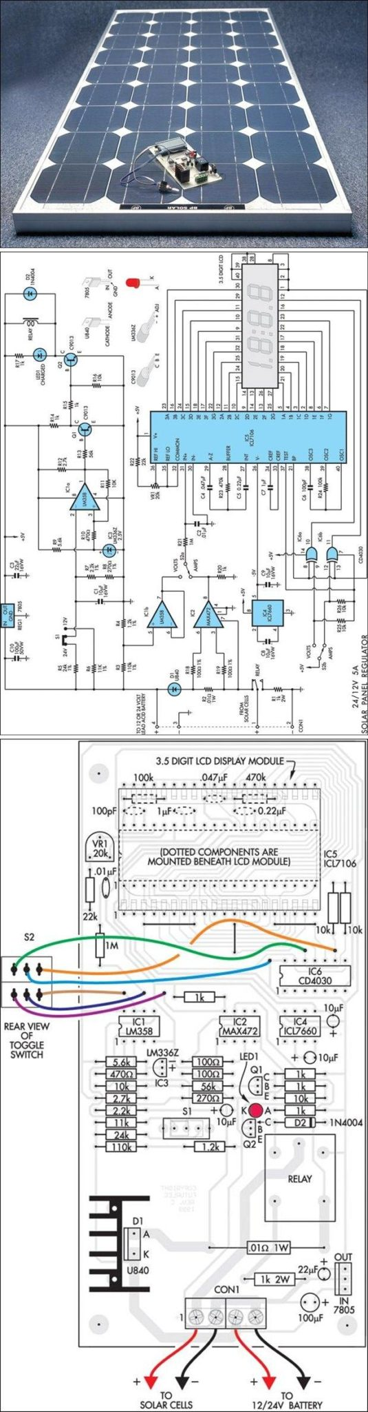 12V 24V SOLAR PANEL REGULATOR WITH LCD DISPLAY SCHEMATIC CIRCUIT DIAGRAM