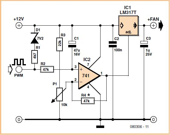 3-Pin Fan in 4-Pin Socket Schematic Circuit Diagram