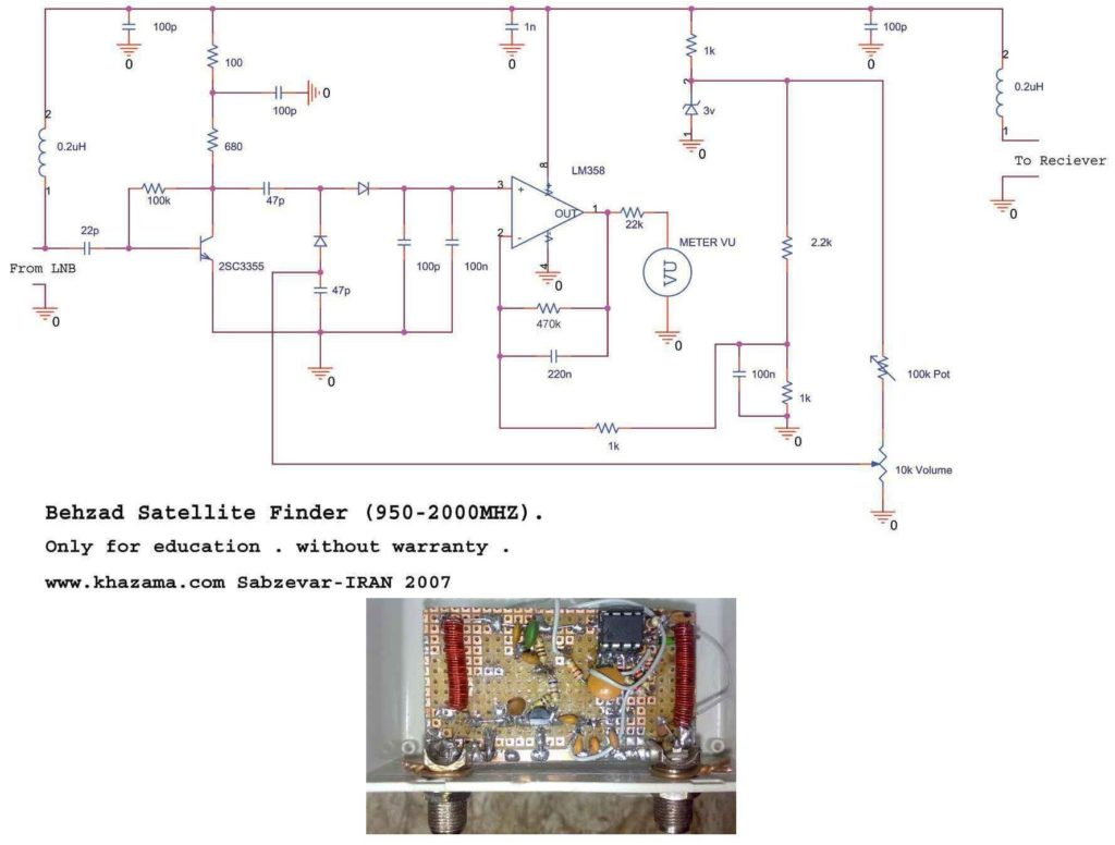 950MHZ 2000MHZ ANALOG SATELLITE FINDER SCHEMATIC CIRCUIT DIAGRAM