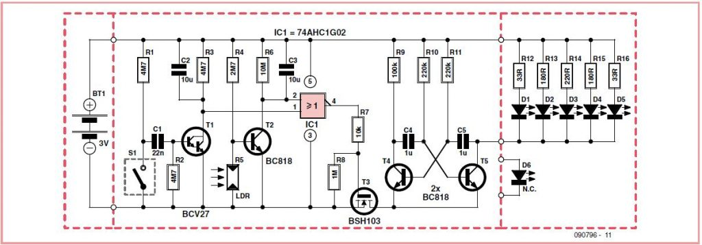 Automatic Rear Bicycle Light Schematic Circuit Diagram