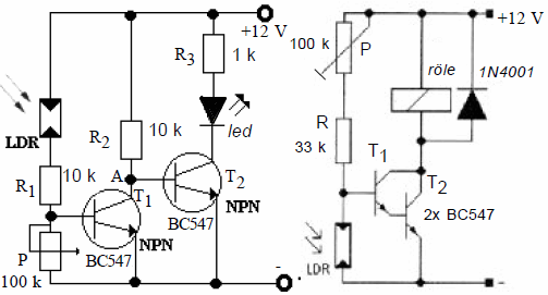 CIRCUIT RUNNING IN THE DARK SCHEMATIC CIRCUIT DIAGRAM