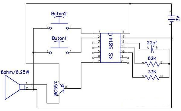 DUAL MELODY RINGER CIRCUIT WITH SAMSUNG KS5814 SCHEMATIC CIRCUIT DIAGRAM