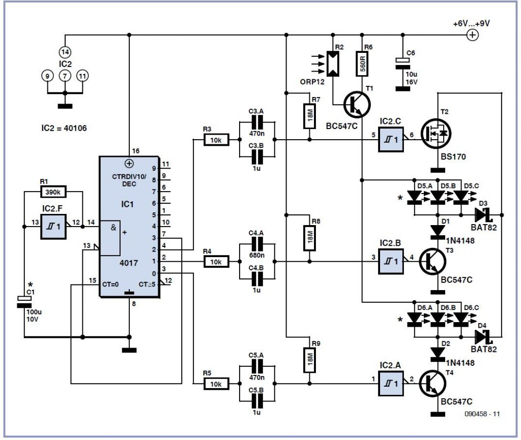 Green/Red Multiflasher Schematic Circuit Diagram