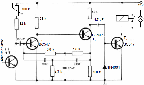 INFRARED RECEIVER CIRCUIT WITH PHOTOTRANSISTOR SCHEMATIC CIRCUIT DIAGRAM