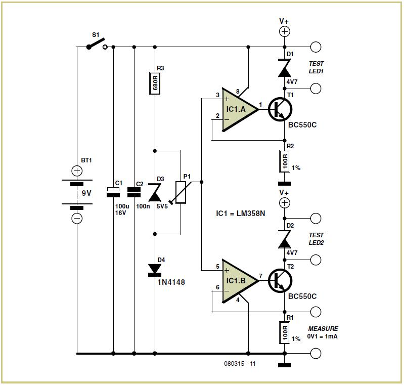 LED Tester Schematic Circuit Diagram