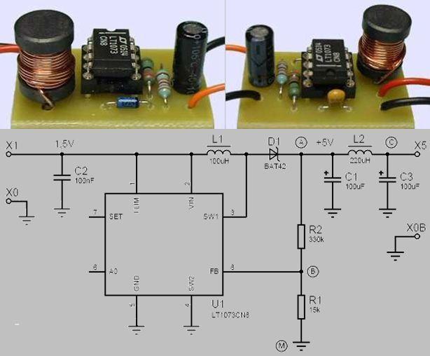 LT1073 1.5V 5V 3V 9V DCDC CONVERTER SCHEMATIC CIRCUIT DIAGRAM
