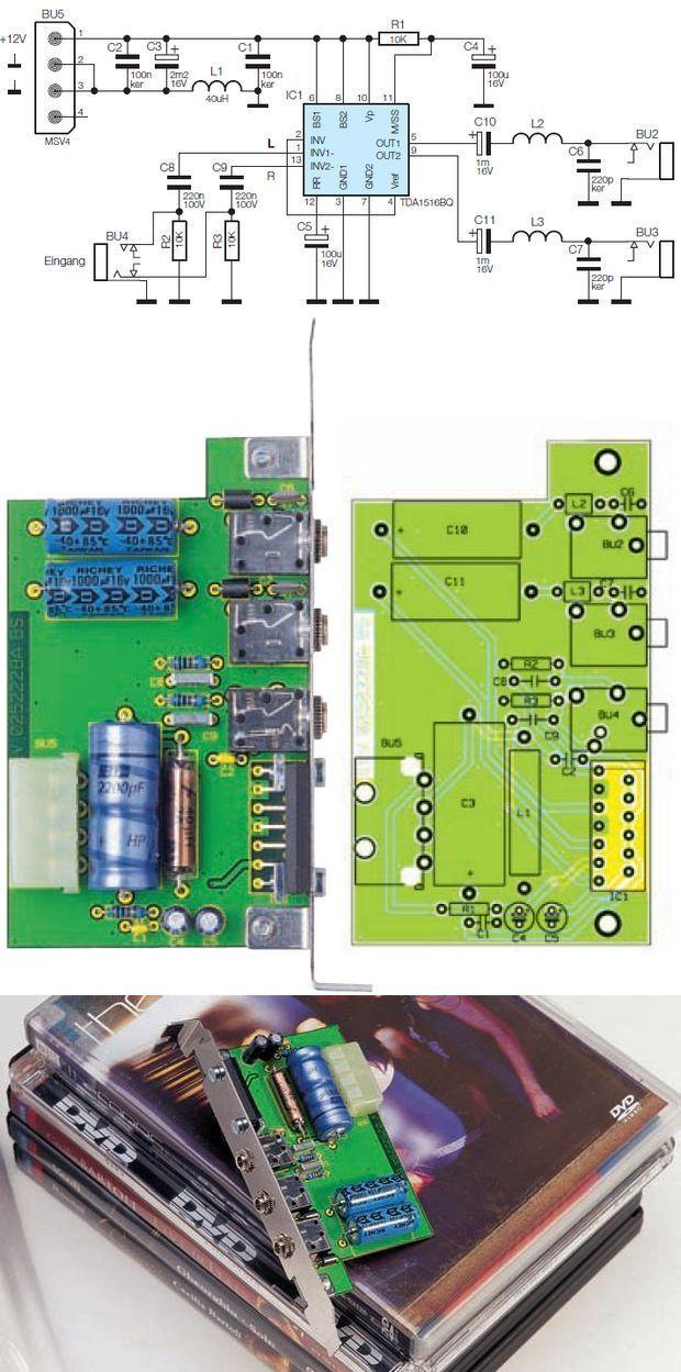PC AMPLIFIER CARD WITH TDA1516BQ SCHEMATIC CIRCUIT DIAGRAM