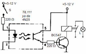 REMOTE CONTROL CIRCUIT WITH OPTOCOUPLER SCHEMATIC CIRCUIT DIAGRAM