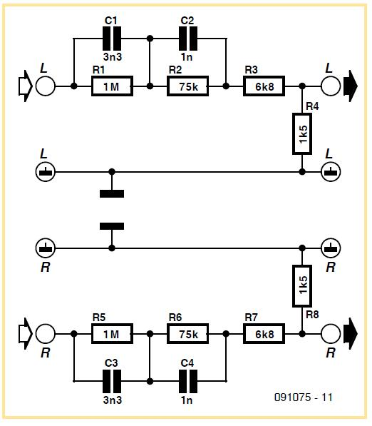Reverse RIAA Adaptor Schematic Circuit Diagram