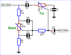 SIMPLE TONE CONTROL CIRCUIT BASS TREBLE RC FILTER SCHEMATIC CIRCUIT DIAGRAM 1