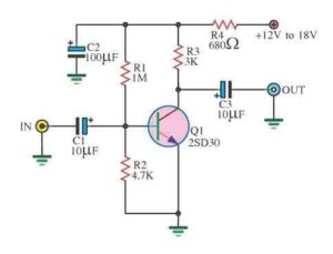 SIMPLE TRANSISTOR CIRCUIT WITH ONE TRANSISTOR SCHEMATIC CIRCUIT DIAGRAM