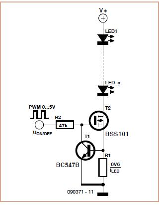 Simple LED Constant Current Source Schematic Circuit Diagram