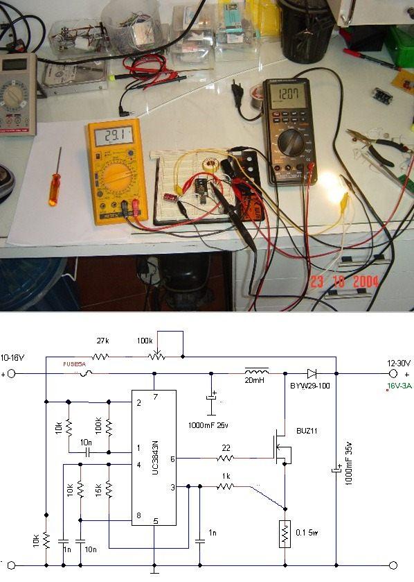 UC3843 10-16V INPUT 12-30V OUTPUT DCDC CONVERTER SCHEMATIC CIRCUIT DIAGRAM