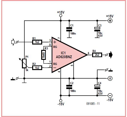 Voltage Difference Magnifier Schematic Circuit Diagram
