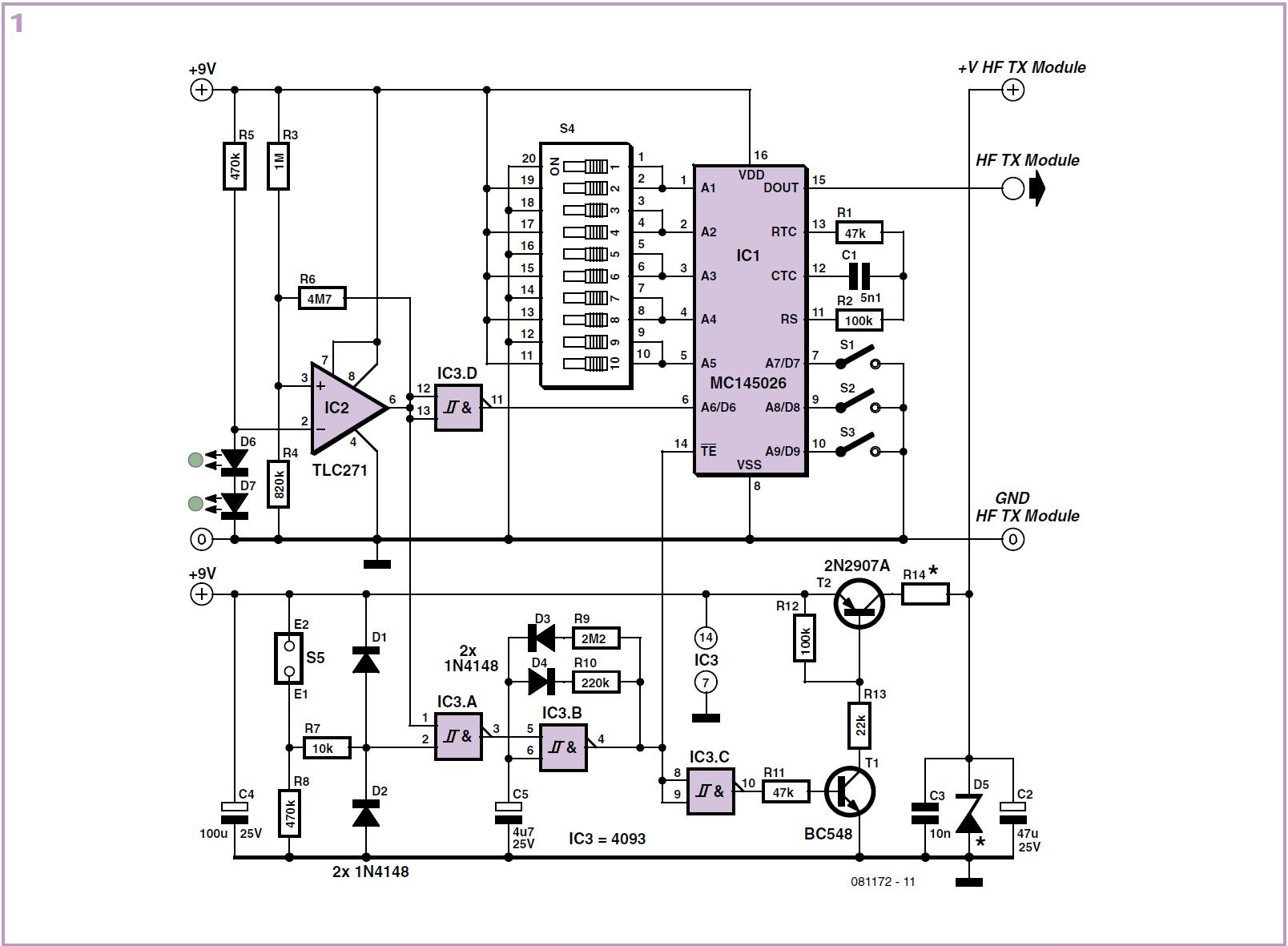 Wireless Alarm Transmitter And Receiver Schematic Circuit Diagram 1