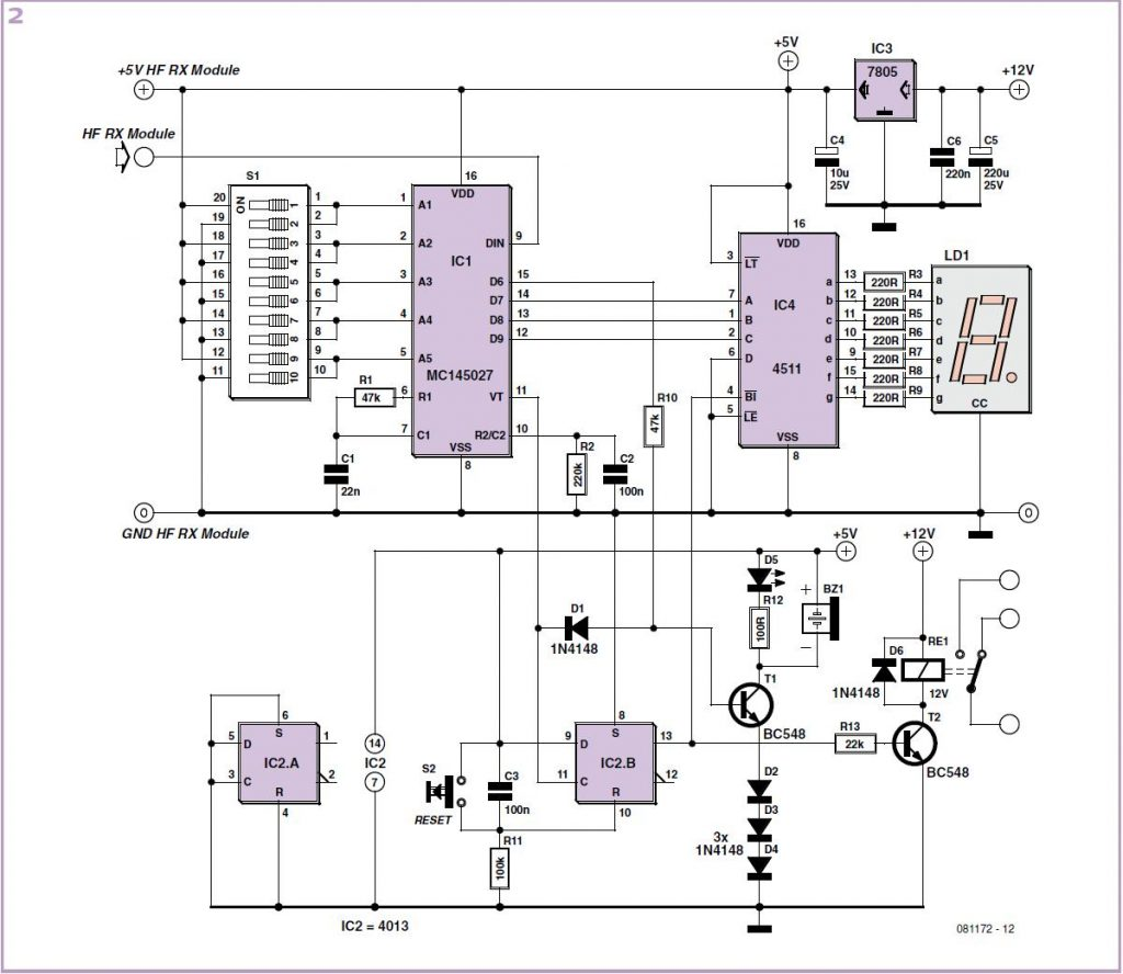 Wireless Alarm Transmitter and Receiver Schematic Circuit Diagram 2