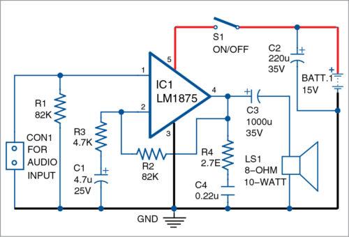 10-Watt Audio Amplifier using LM1875 Schematic Circuit Diagram 2